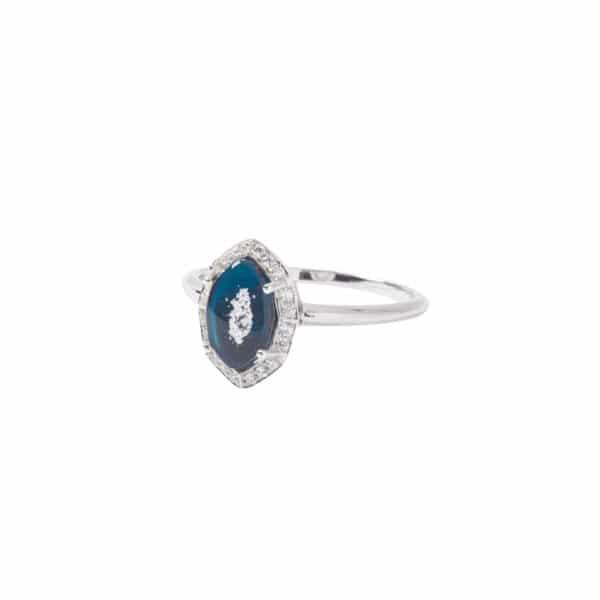 純銀八角鋯石戒指