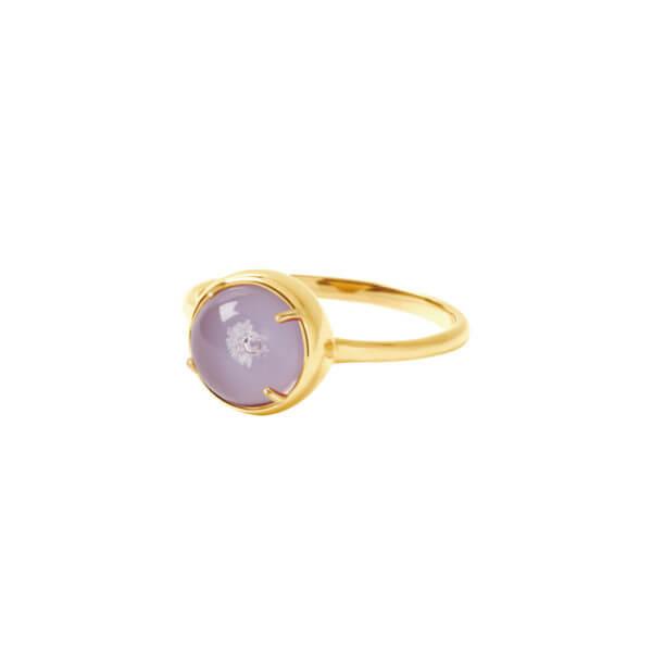 純銀圓形爪鑲戒指