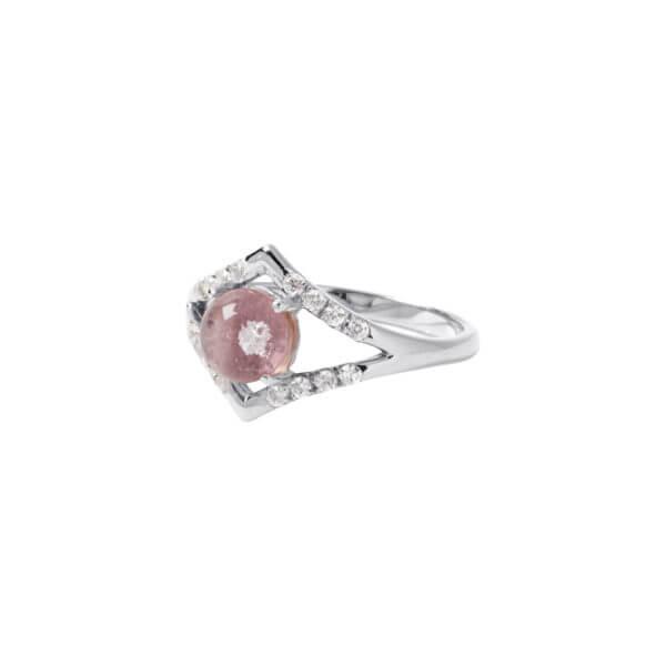 純銀幾何鋯石戒指