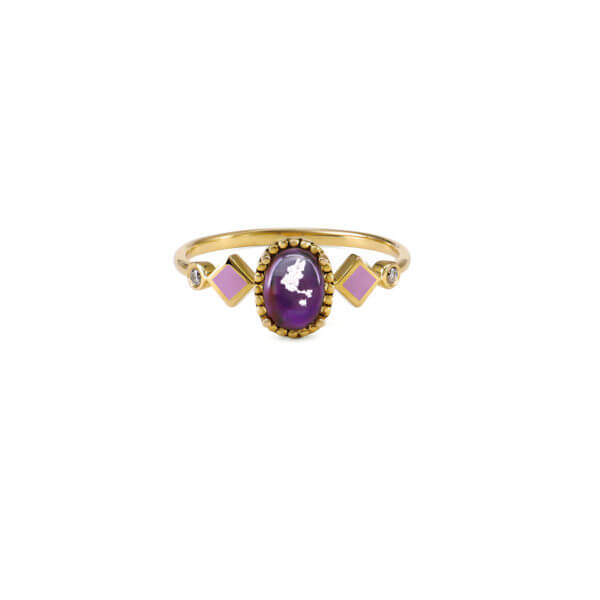 純銀橢圓花苞琺瑯戒指