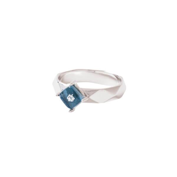 純銀菱形切面戒指