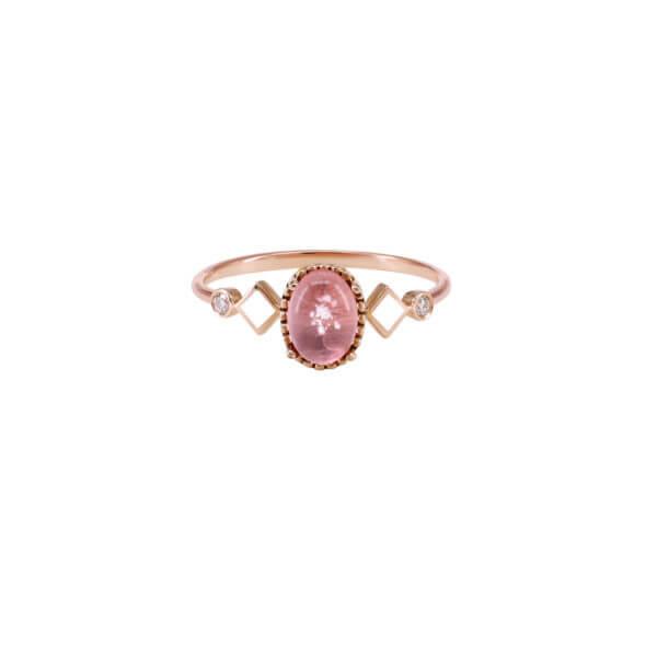 18K橢圓花苞琺瑯鑽石戒指