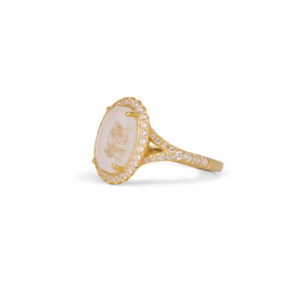 18K 橢圓鑽石戒指